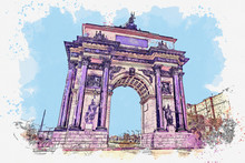 Watercolor Sketch Or Illustration Of A Beautiful View Of The Triumphal Arch In Moscow In Russia. Architectural Symbol Of Victory