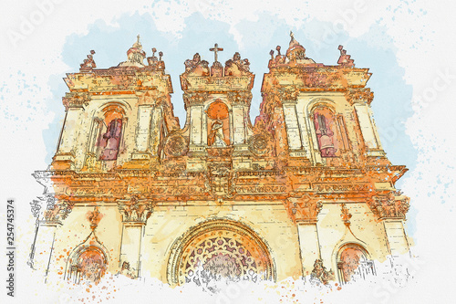 Photo  Watercolor sketch or illustration of a beautiful view of the ancient Monastery o