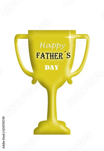 Fotografie, Obraz  Copa, felicitación, día del padre, trofeo, aislada, fondo blanco.