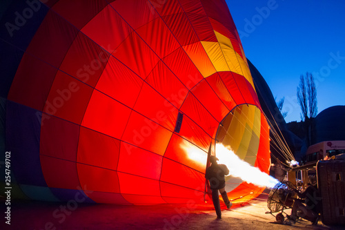 Fotografie, Obraz  Fire in a balloon Preparation for takeoff
