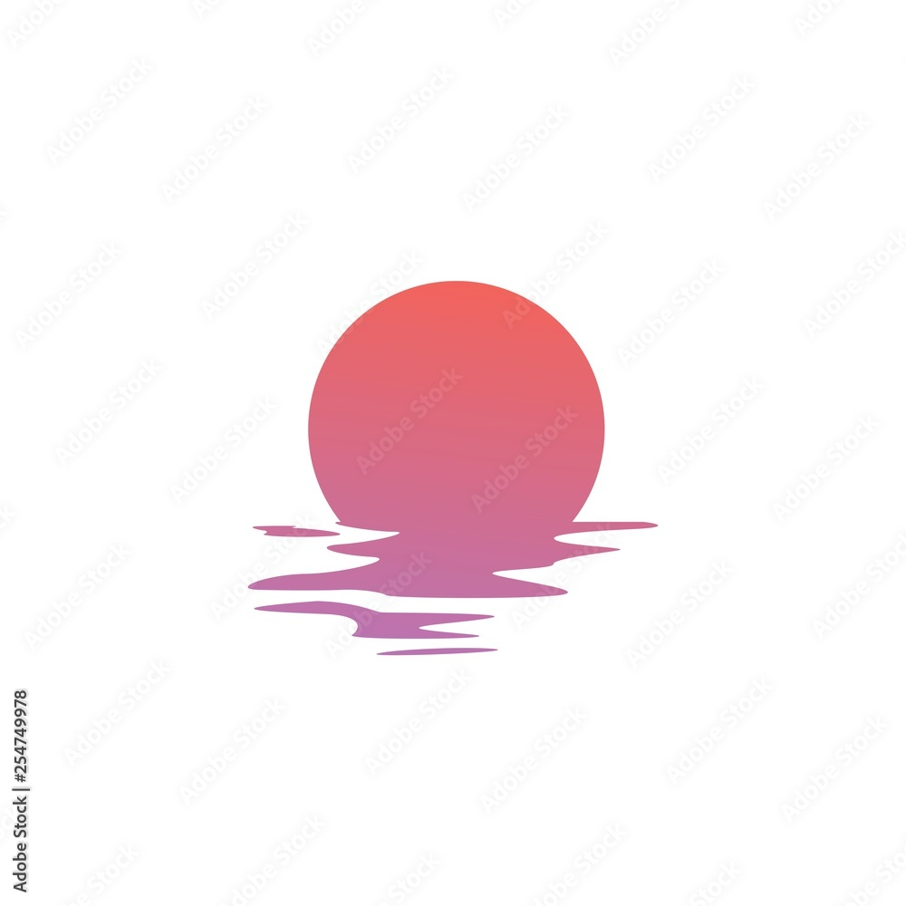 Fototapeta sunset logo vector icon sea gulf coast illustration