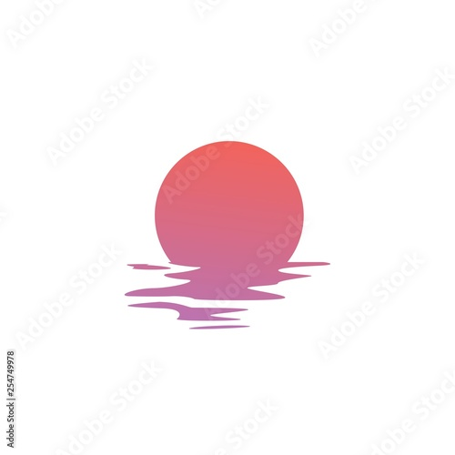 Valokuva sunset logo vector icon sea gulf coast illustration