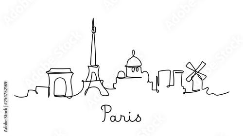 One line style Paris city skyline. Simple modern minimaistic style vector.