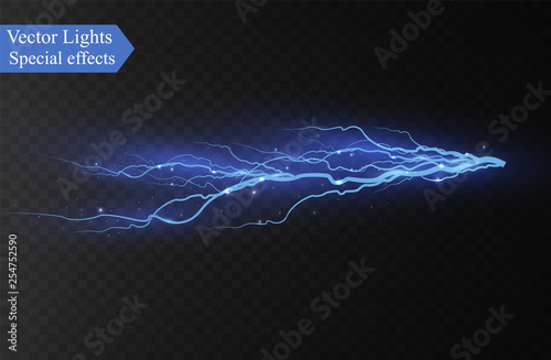 Lightning on a transparent Tableau sur Toile