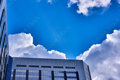 Reflection of Clouds in glass Canvas Print