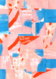 Mozaika streszczenie sztuka tło z różowy kolor i kontrast czerwony i niebieski