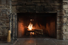 Stone Fireplace With Fire