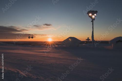 Photographie  sunrise in levi's ski resort