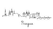 One Line Style Prague City Skyline. Simple Modern Minimalistic Style Vector.