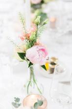 Close Up Of Pink Rose In Vase