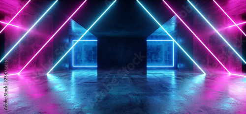 Background Triangle Neon Blue Purple Sci Fi Futuristic Fluorescent Alien Spaceship Dark Empty Grunge Concrete Corridor Tunnel Hall Room Glowing Lights Laser Show 3D Rendering - 254766145