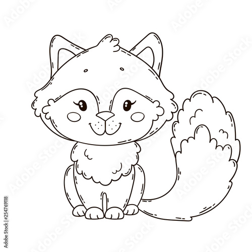 Cute little fox. Coloring book page for children. - Buy this ...