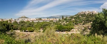 Greece, Athens, Panoramic View From Ancient Agora To Stoa Of Attalos And Acropolis