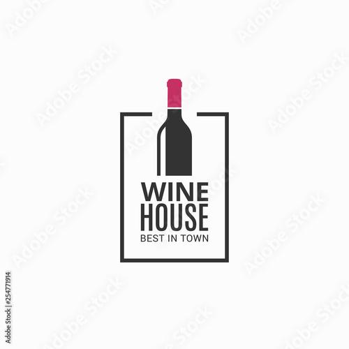 Fotografie, Obraz Wine bottle logo. Winehouse icon on black