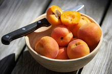 Close Up Of Apricots In Bowl