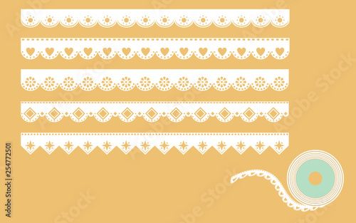 Set of ornamental lace borders Tablou Canvas