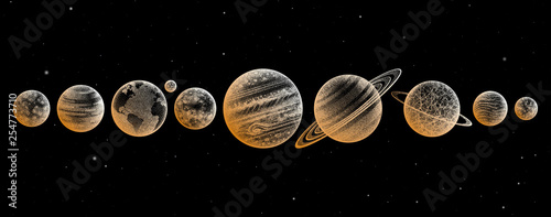 Collection of planets in solar system Canvas