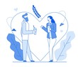 Modern cartoon flat line people characters romantic talking,thin contour style illustration.Young hipster character people dating,love conversation,woman and man talk,happy romantic time together