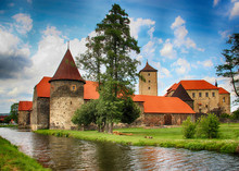 The Water Castle Of Svihov Is Situated In The Pilsen Region, Czech Republic, Europe. There Are Water Canal Around The Stone Castle