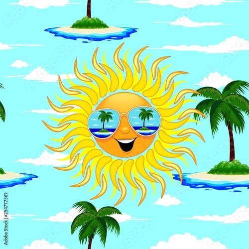 Spoed Foto op Canvas Draw Summer Sun Cartoon with Sunglasses Beach Reflections Seamless Pattern Vector Illustration