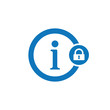Info icon with padlock sign. Info icon and security, protection, privacy symbol