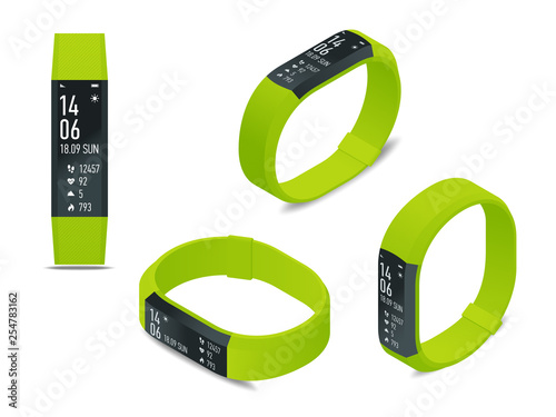 Fotomural Isometric fitness bracelet or tracker with a smartphone isolated on white