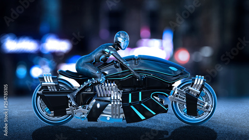 Biker girl with helmet riding a sci-fi bike, woman on black futuristic motorcycle in night city street, side view, 3D rendering
