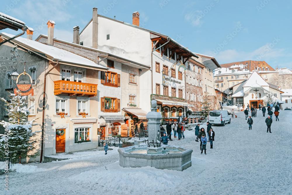 Fototapety, obrazy: View of main street in swiss village Gruyeres