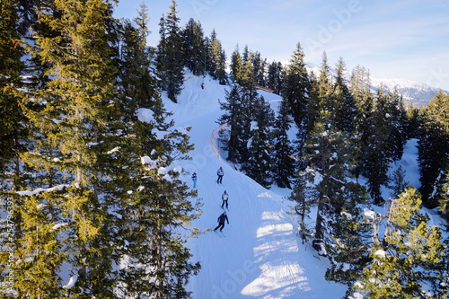 Men Skiers in Penken ski resort in Zillertal Mayrhofen Canvas Print