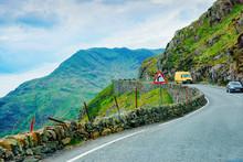 Road With Cars At Mountains At Snowdonia UK
