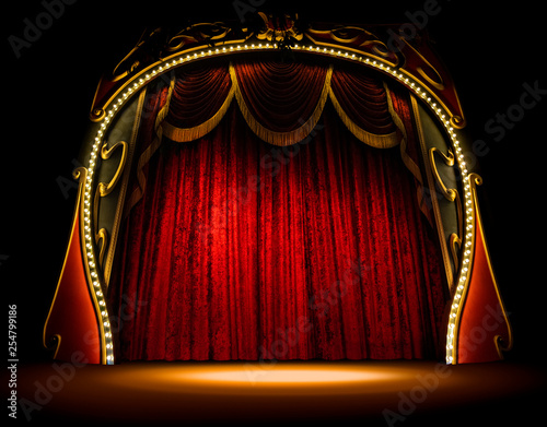 Empty old opera gala theater stage and red velvet curtains Fototapete