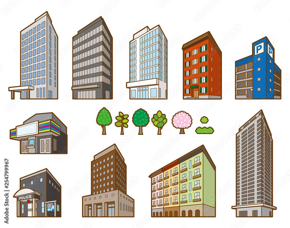 Fototapeta いろいろな建物の立体イラスト