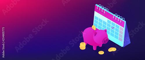 Fototapeta Cash deposit isometric 3D banner header. obraz
