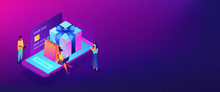 Online Gift Purchase Isometric 3D Banner Header.
