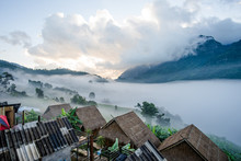 Hut And Doi Luang Mountain In Chiang Dao District Of Chiang Mai Province, Thailand.