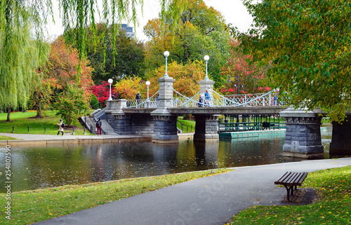 Lagoon Bridge and Fall Colors in Boston Public Garden Canvas Print
