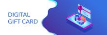 Digital Gift Card Isometric 3D Banner Header.