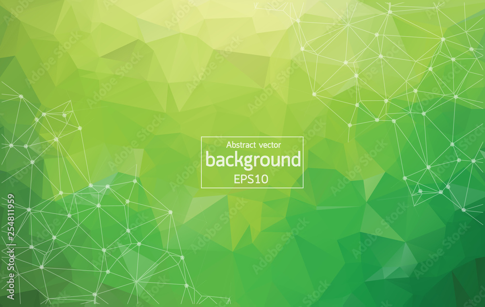 Fototapety, obrazy: Abstract Multi green Polygonal Space Background with Connecting Dots and Lines. Geometric Polygonal background molecule and communication. Concept of science, chemistry, biology, medicine, technology.