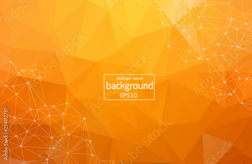 Photographie  Bright orange low poly communication background
