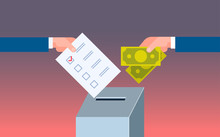 Voter Putting Paper Ballot List In Box Selling Vote Hand Giving Money During Voting Election Corruption Concept Flat Horizontal