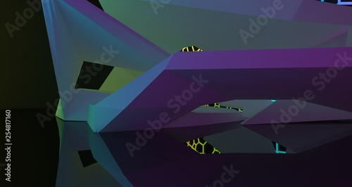 Aluminium Prints Violet Abstract white Futuristic Sci-Fi interior With Gradient Glowing Neon Tubes . 3D illustration and rendering.