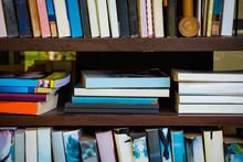 Many Book In Wooden Shelf