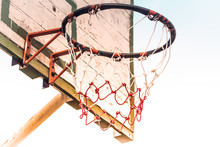 Old Vintage Basketball Hoop Isolate White Background