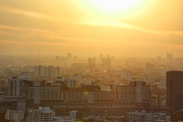 Beautiful landscape view of Bangkok City at dawn time with pollution from PM2.5