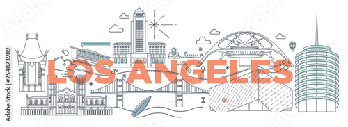 Fototapety Los Angeles  typography-word-los-angeles-branding-technology-concept-collection-of-flat-vector-web-icons-american-culture-travel-set-architectures-specialties-detailed-silhouette-doodle-famous-landmarks