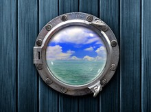Ship Porthole With Wooden Wall...