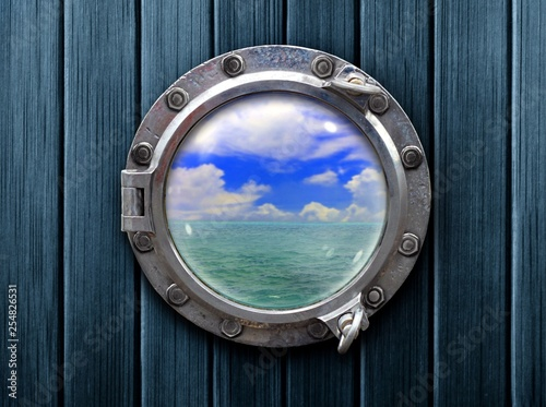 Photo Stands Ship Ship porthole with wooden wall and ocean view