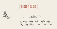 Caravan Camels Walking Towards Oasis Desert Vector