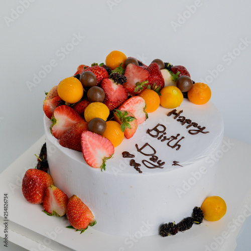 Terrific Happy Birthday Fresh Fruit Cake With Chocolate Happy Birthday On Personalised Birthday Cards Veneteletsinfo