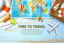 Vector Time To Travel Poster Design 3d